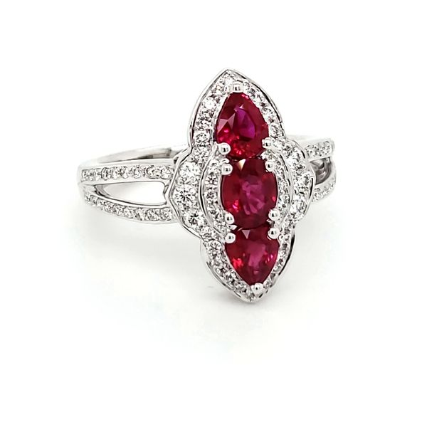 18K White Gold Ruby & Diamond Ring Image 2 Quality Gem, LLC Bethel, CT