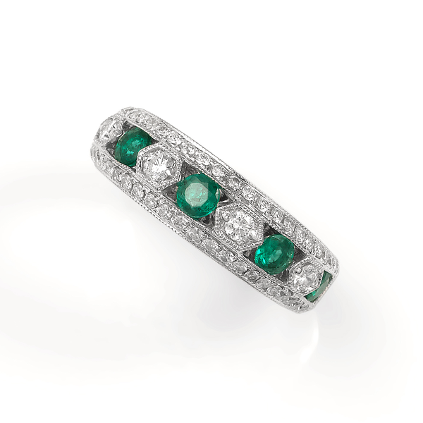 18K White Gold Emerald & Diamond Band Image 5 Quality Gem, LLC Bethel, CT