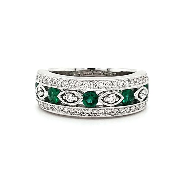 18K White Gold Emerald & Diamond Band Quality Gem, LLC Bethel, CT