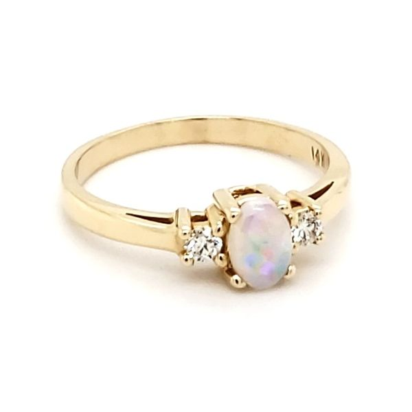 14K Yellow Gold Opal & Diamond Ring Image 2 Quality Gem, LLC Bethel, CT