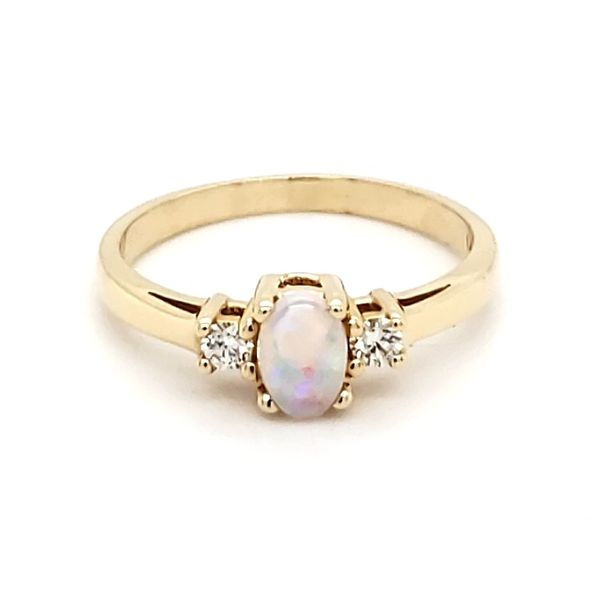 14K Yellow Gold Opal & Diamond Ring Quality Gem, LLC Bethel, CT