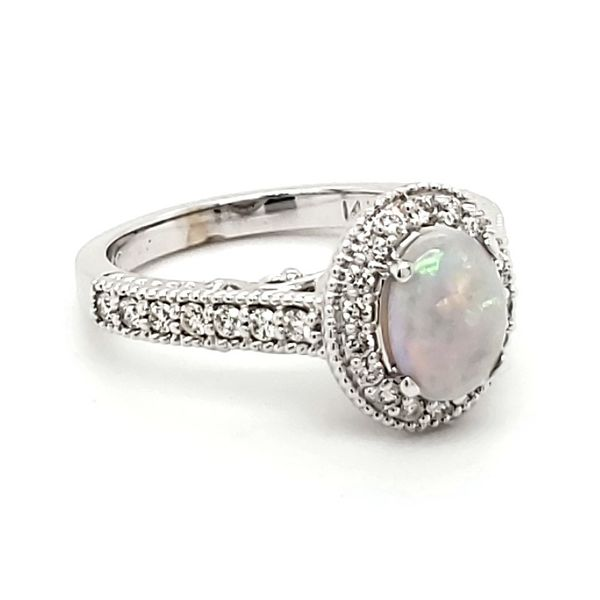 14K White Gold Opal & Diamond Ring Image 2 Quality Gem LLC Bethel, CT