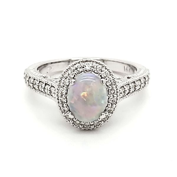 14K White Gold Opal & Diamond Ring Quality Gem LLC Bethel, CT