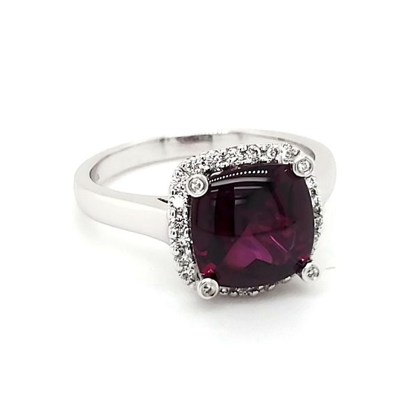 14K White Gold Rhodolite Garnet & Diamond Ring Image 2 Quality Gem, LLC Bethel, CT
