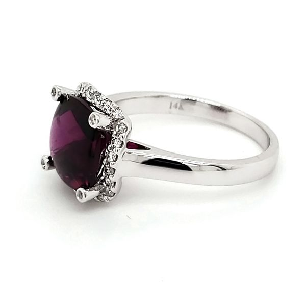 14K White Gold Rhodolite Garnet & Diamond Ring Image 3 Quality Gem, LLC Bethel, CT