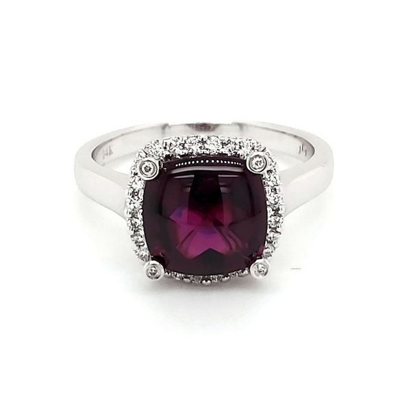 14K White Gold Rhodolite Garnet & Diamond Ring Quality Gem, LLC Bethel, CT