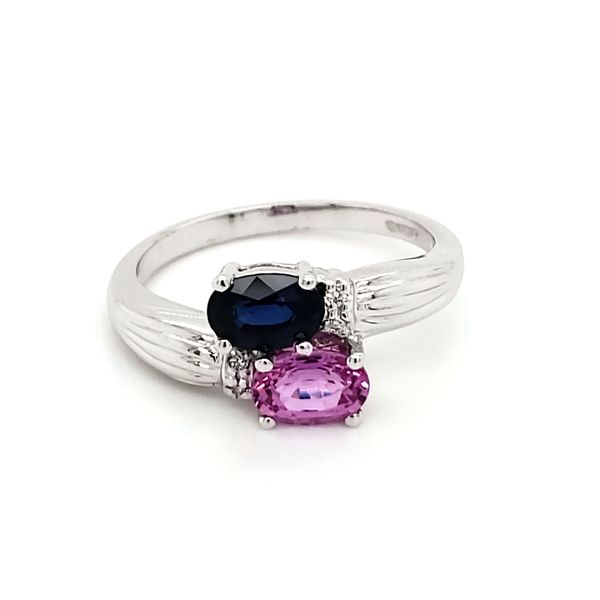 14K White Gold Blue and Pink Sapphire & Diamond Bypass Ring Image 2 Quality Gem, LLC Bethel, CT