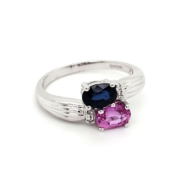 14K White Gold Blue and Pink Sapphire & Diamond Bypass Ring Image 3 Quality Gem, LLC Bethel, CT