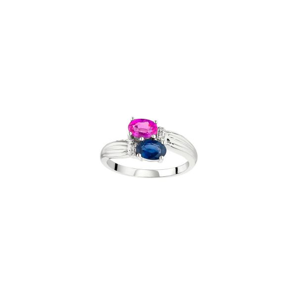 14K White Gold Blue and Pink Sapphire & Diamond Bypass Ring Image 4 Quality Gem, LLC Bethel, CT