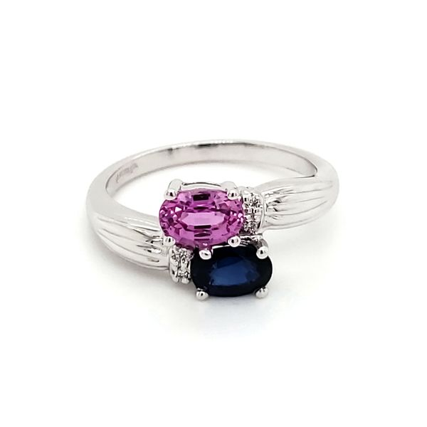 14K White Gold Blue and Pink Sapphire & Diamond Bypass Ring Quality Gem, LLC Bethel, CT