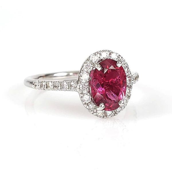 14K White Gold Pink Tourmaline& Diamond Ring Image 2 Quality Gem, LLC Bethel, CT