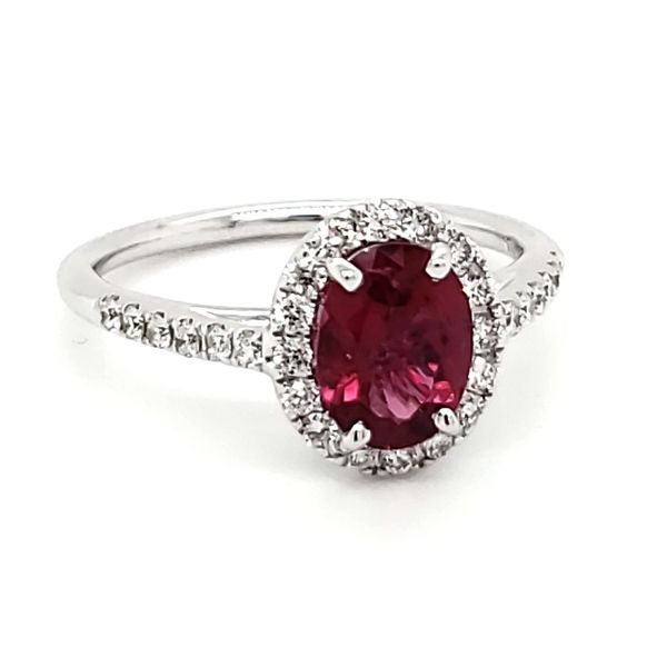 14K White Gold Pink Tourmaline& Diamond Ring Image 3 Quality Gem, LLC Bethel, CT