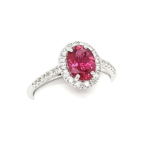 14K White Gold Pink Tourmaline& Diamond Ring Image 4 Quality Gem, LLC Bethel, CT