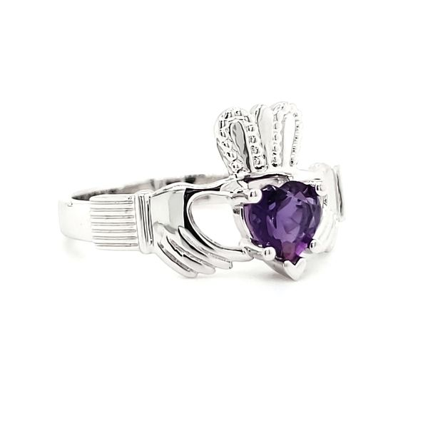 14K White Gold Amethyst Claddagh Ring Image 2 Quality Gem, LLC Bethel, CT
