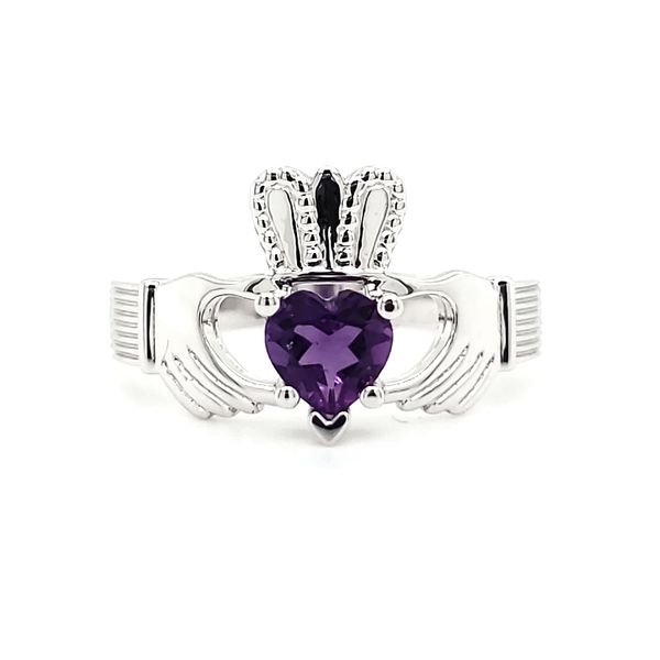 14K White Gold Amethyst Claddagh Ring Quality Gem, LLC Bethel, CT