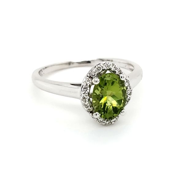 14K White Gold Peridot & Diamond Ring Image 2 Quality Gem, LLC Bethel, CT