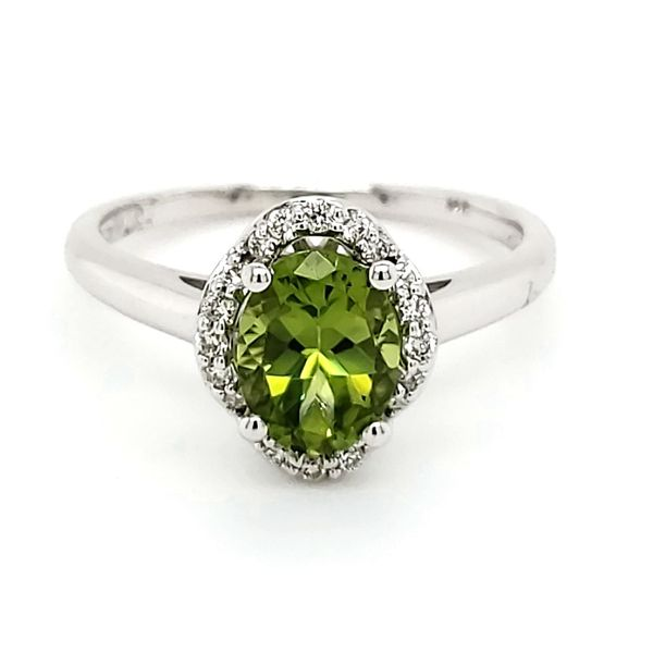 14K White Gold Peridot & Diamond Ring Quality Gem, LLC Bethel, CT