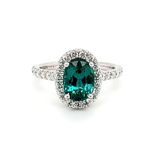 14K White Gold Green Tourmaline & Diamond Ring Image 2 Quality Gem, LLC Bethel, CT