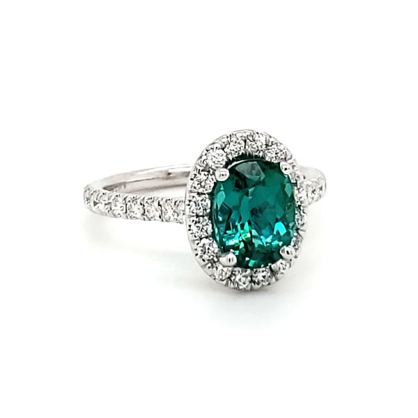 14K White Gold Green Tourmaline & Diamond Ring Image 3 Quality Gem, LLC Bethel, CT