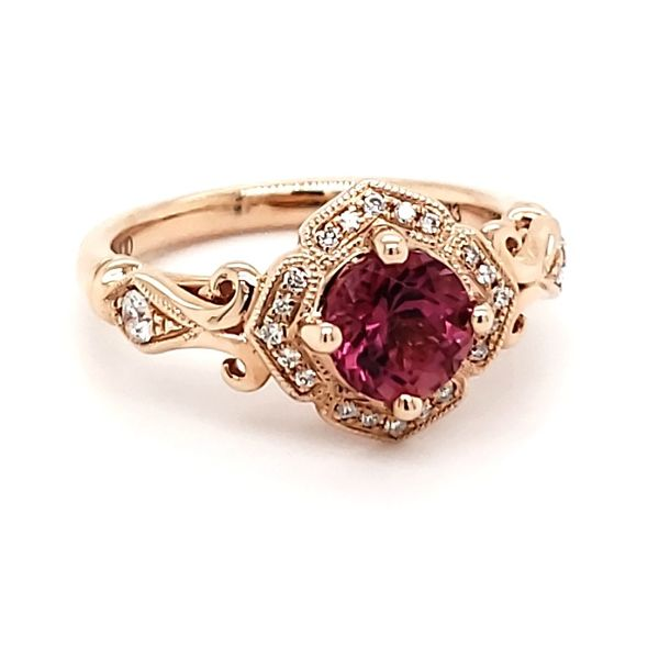 14K Rose Gold Pink Tourmaline & Diamond Ring Image 2 Quality Gem, LLC Bethel, CT