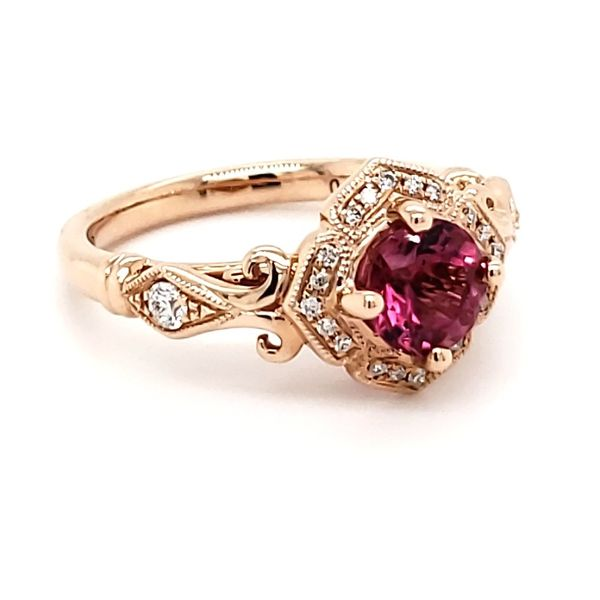 14K Rose Gold Pink Tourmaline & Diamond Ring Image 3 Quality Gem, LLC Bethel, CT