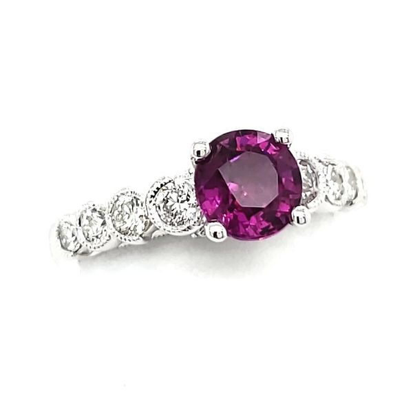 14K White Gold Pink Tourmaline & Diamond Ring Image 2 Quality Gem, LLC Bethel, CT
