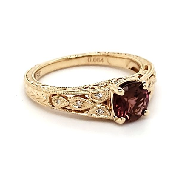 14K Yellow Gold Pink Antique Styled Tourmaline & Diamond Ring Image 2 Quality Gem, LLC Bethel, CT