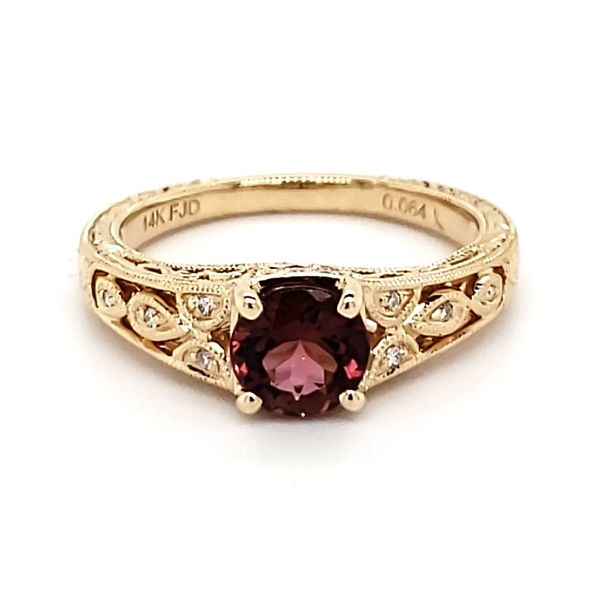 14K Yellow Gold Pink Antique Styled Tourmaline & Diamond Ring Quality Gem, LLC Bethel, CT