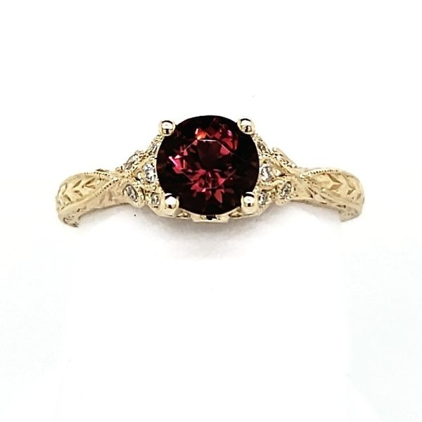 14K Yellow Gold Pink Tourmaline & Diamond Ring Image 2 Quality Gem, LLC Bethel, CT