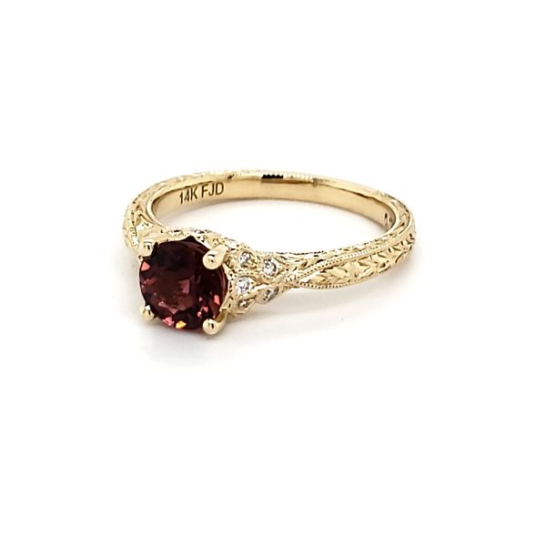 14K Yellow Gold Pink Tourmaline & Diamond Ring Image 4 Quality Gem, LLC Bethel, CT