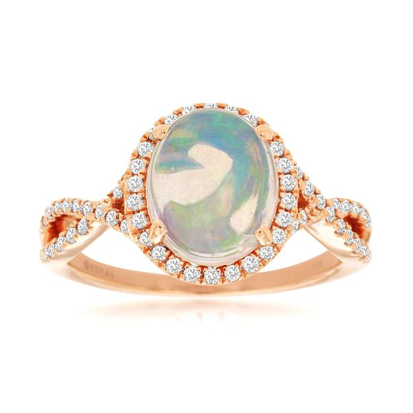 14K Rose Gold Oval Opal Cabochon & Diamond Halo Twist Ring Quality Gem, LLC Bethel, CT