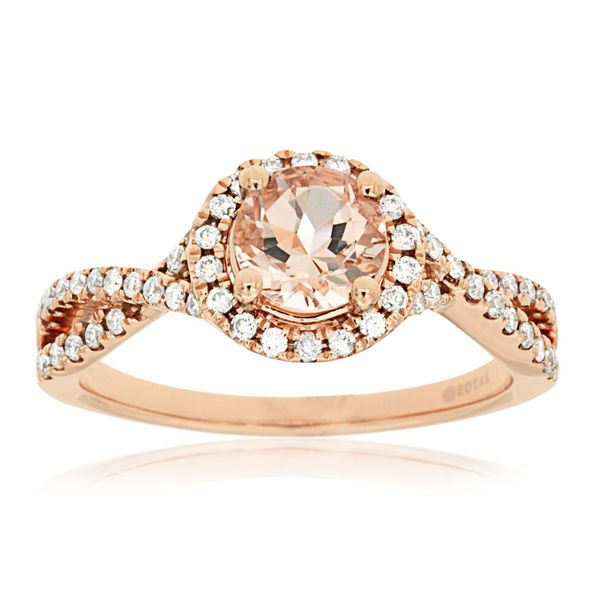 14K Rose Gold Morganite & Diamond Halo Twist Ring Quality Gem LLC Bethel, CT