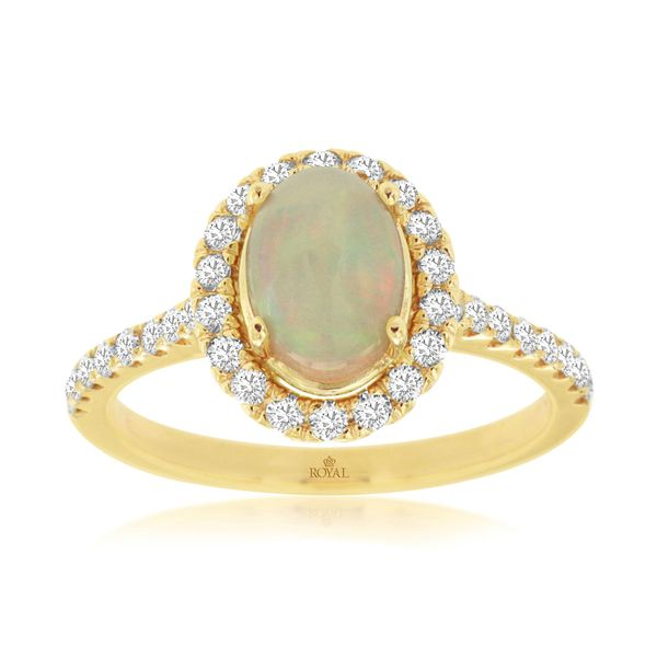 14K Yellow Gold Oval Opal & Diamond Halo Ring Quality Gem LLC Bethel, CT
