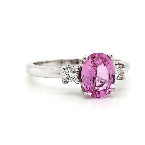 14K White Gold Oval Pink Sapphire & Diamond Ring Image 2 Quality Gem LLC Bethel, CT