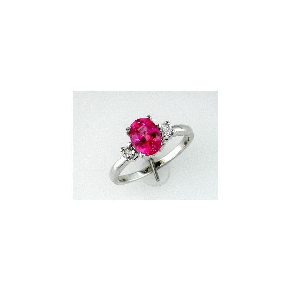 14K White Gold Oval Pink Sapphire & Diamond Ring Image 3 Quality Gem LLC Bethel, CT