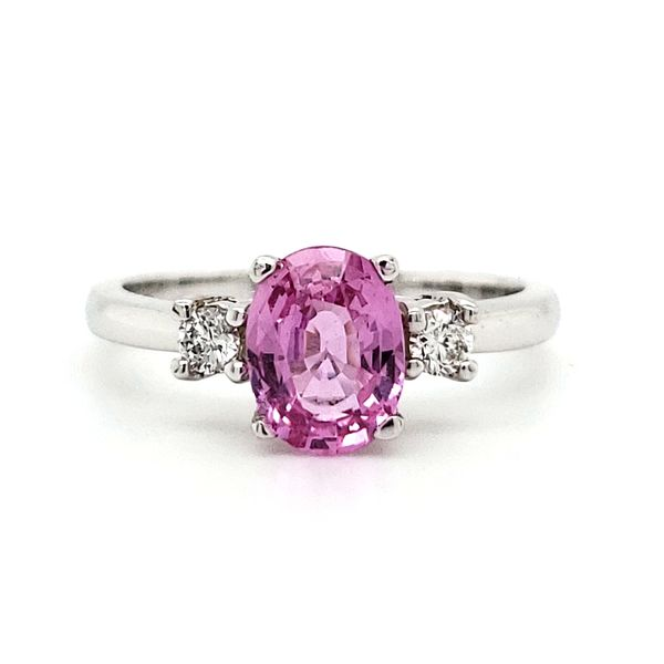 14K White Gold Oval Pink Sapphire & Diamond Ring Quality Gem LLC Bethel, CT