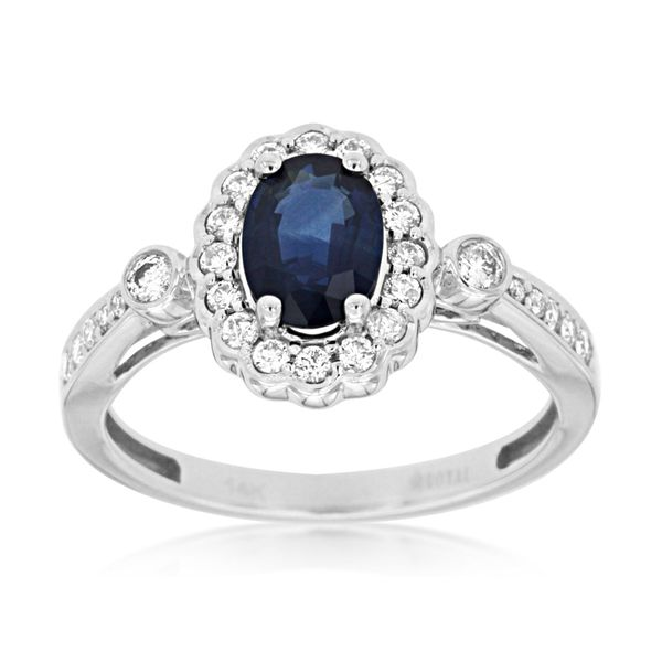 14K White Gold Oval Sapphire & Diamond Ring Quality Gem LLC Bethel, CT