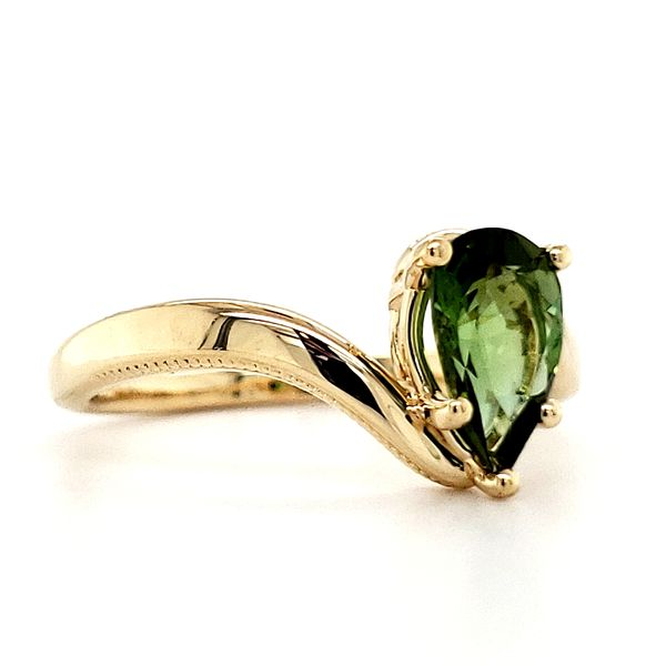 14K Yellow Gold Bypass Pear Green Tourmaline Ring Image 2 Quality Gem LLC Bethel, CT