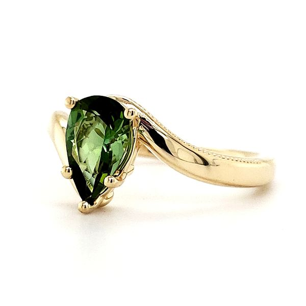 14K Yellow Gold Bypass Pear Green Tourmaline Ring Image 3 Quality Gem LLC Bethel, CT