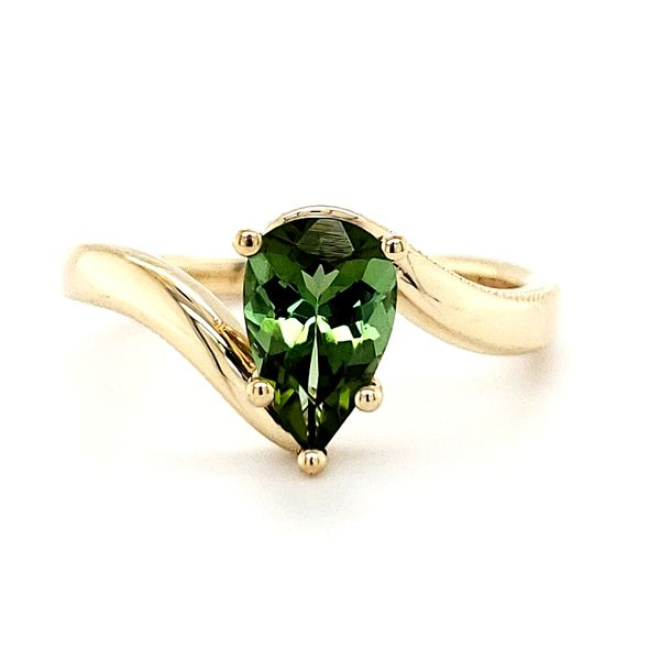 14K Yellow Gold Bypass Pear Green Tourmaline Ring Quality Gem LLC Bethel, CT