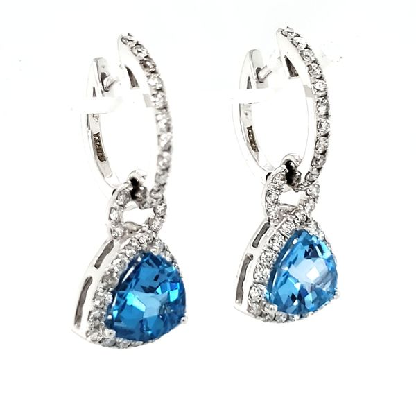 14K White Gold Trillian Blue Topaz & Diamond Dangle Earrings Image 2 Quality Gem, LLC Bethel, CT