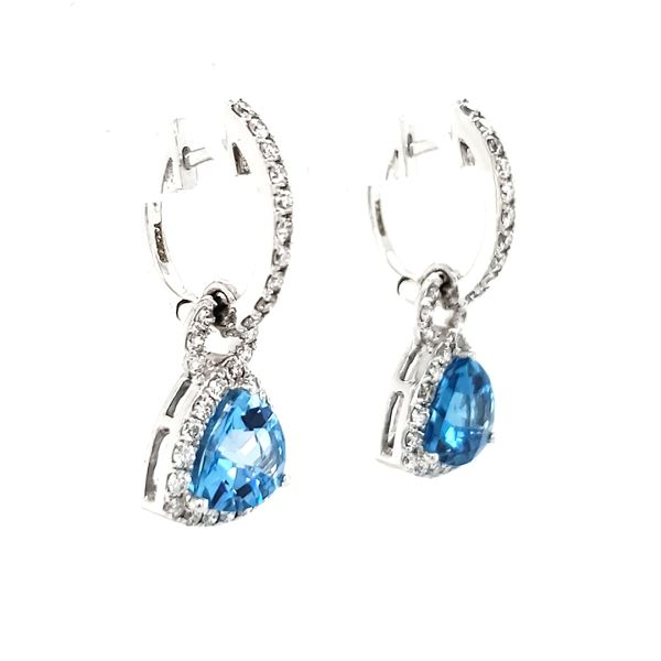 14K White Gold Trillian Blue Topaz & Diamond Dangle Earrings Image 3 Quality Gem, LLC Bethel, CT