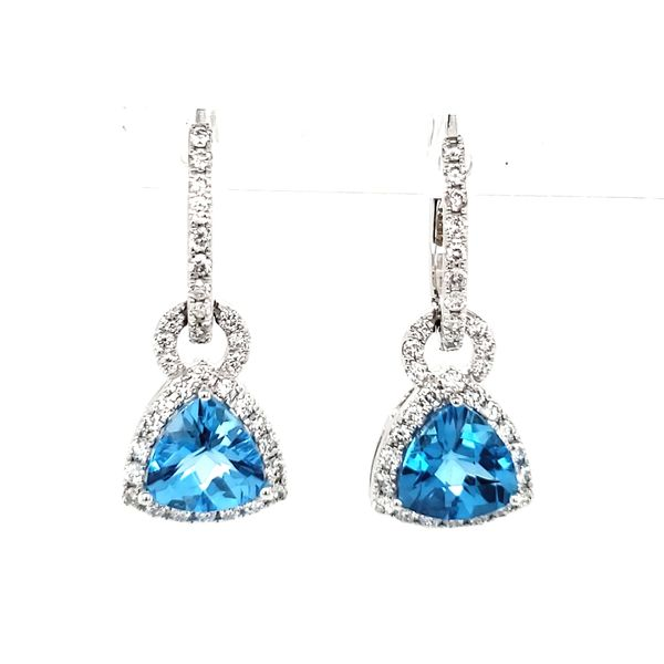 14K White Gold Trillian Blue Topaz & Diamond Dangle Earrings Image 4 Quality Gem, LLC Bethel, CT