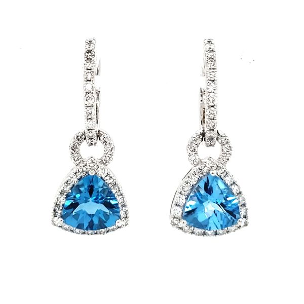 14K White Gold Trillian Blue Topaz & Diamond Dangle Earrings Quality Gem, LLC Bethel, CT