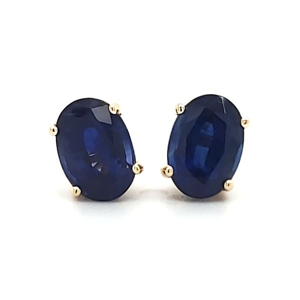 14K Yellow Gold Sapphire Stud Earrings Image 3 Quality Gem, LLC Bethel, CT