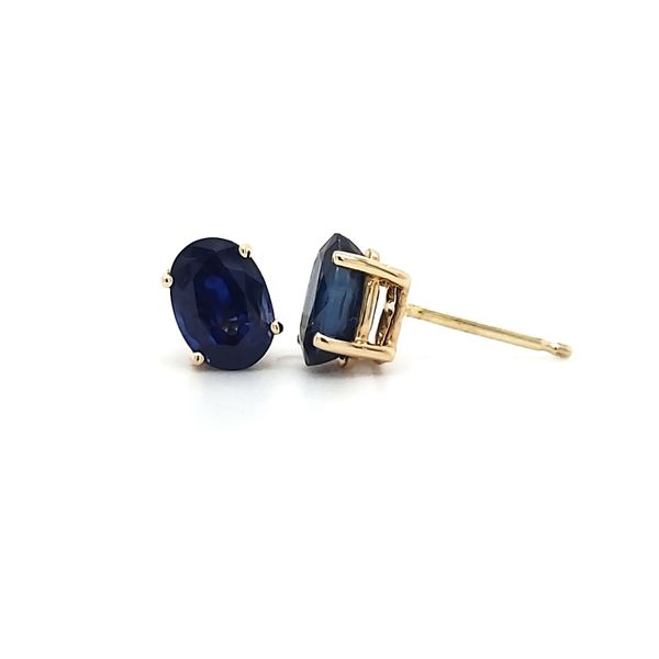 14K Yellow Gold Sapphire Stud Earrings Image 4 Quality Gem, LLC Bethel, CT