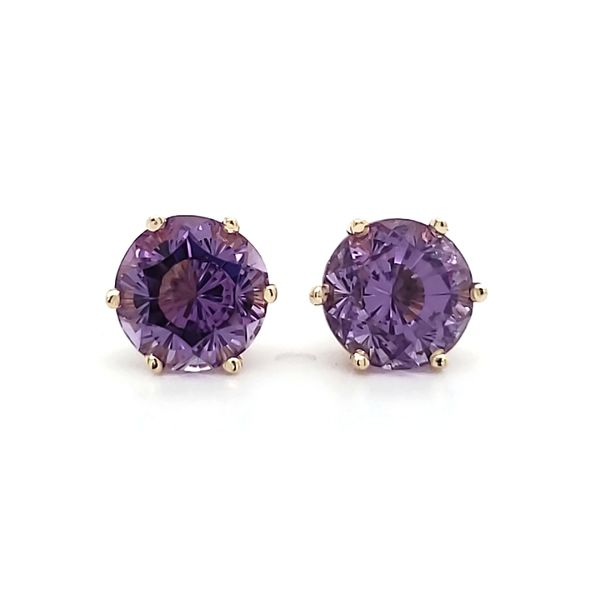 14K Yellow Gold Fantasy Cut Amethyst Stud Earrings Image 2 Quality Gem, LLC Bethel, CT