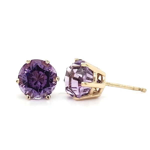 14K Yellow Gold Fantasy Cut Amethyst Stud Earrings Image 3 Quality Gem, LLC Bethel, CT
