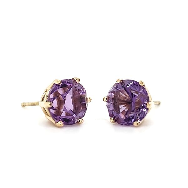 14K Yellow Gold Fantasy Cut Amethyst Stud Earrings Quality Gem, LLC Bethel, CT