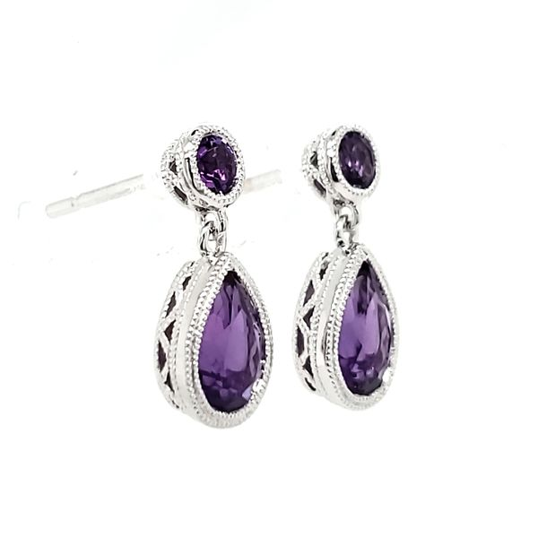 14K White Gold Amethyst Milgrain Bezel Dangle Earrings Image 2 Quality Gem, LLC Bethel, CT